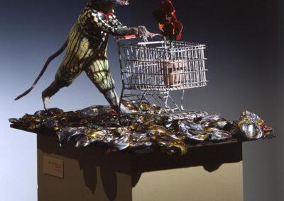 "Joey: Pushing Forward, mixed media sculpture, 48 x 48 x 12"", 2005"