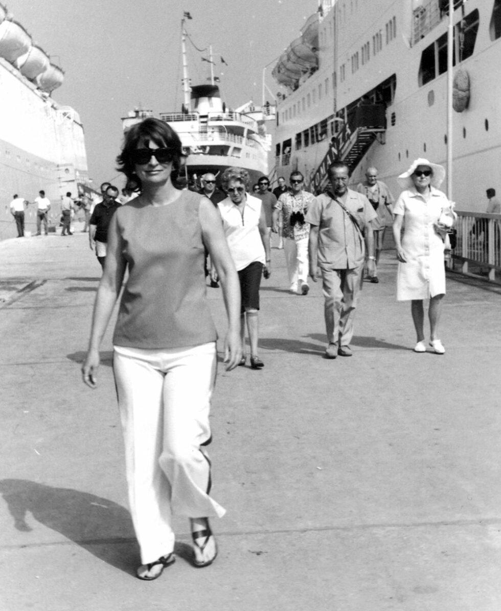 Elaine Badgley Arnoux on vacation in Greece.