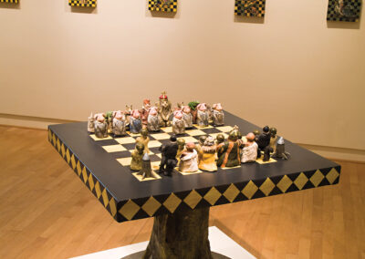 """Chess board: Fantasy and Intellect in Combat, 2008, 48"""" x 48"""" x 48"""", Mixed media"""