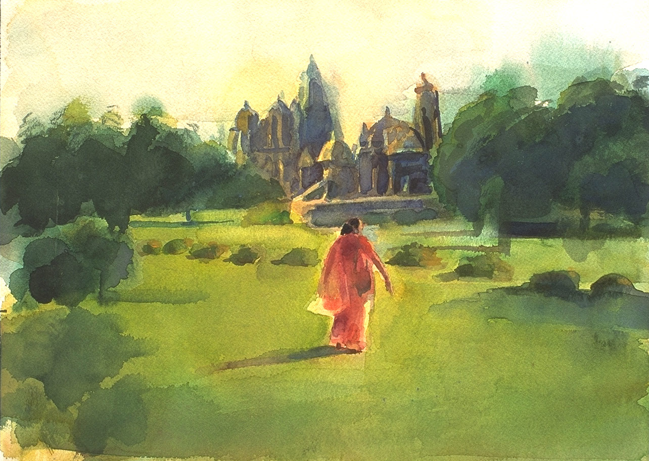 Watercolor from the Silk and Steel series for India of a woman in a red sari walking in a grass field