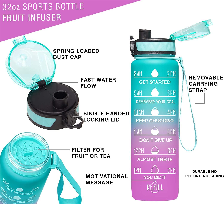 Elvira 32oz Motivational Fitness Sports Water Bottle