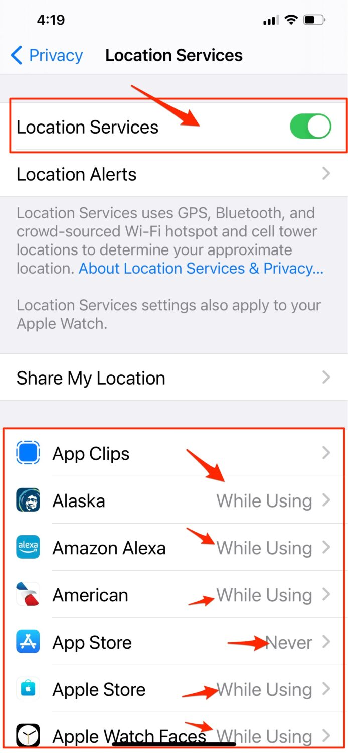 How to check the privacy and location settings on your phone