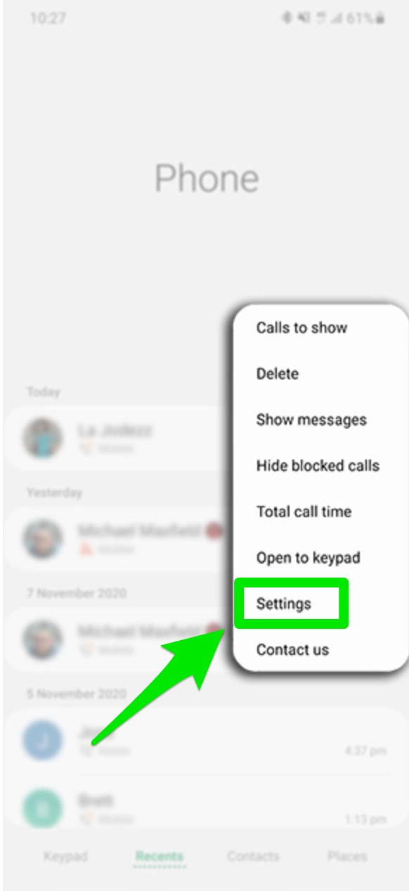Quickly respond to a call with a pre-created message: Samsung