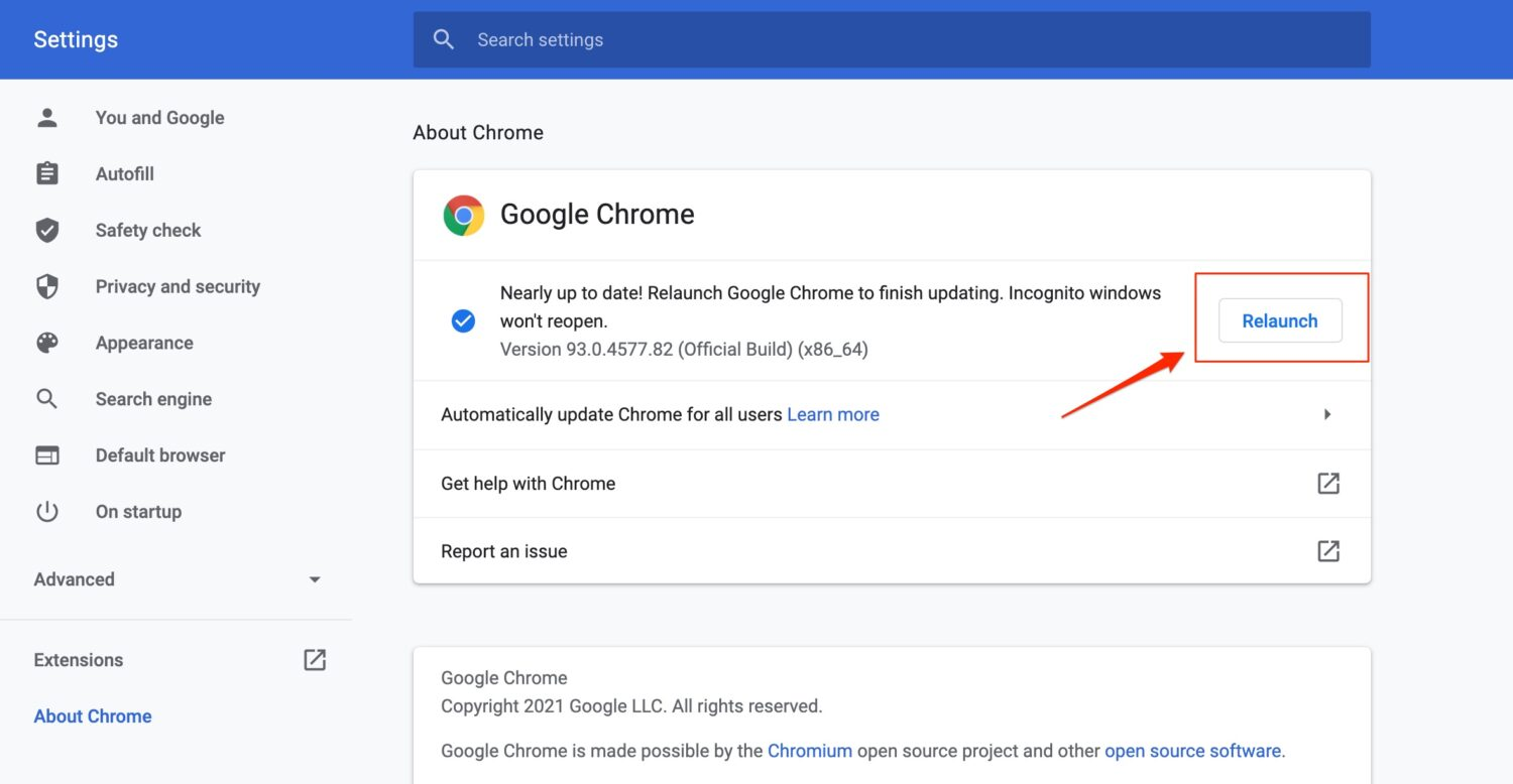 Update your Google Chrome Browser