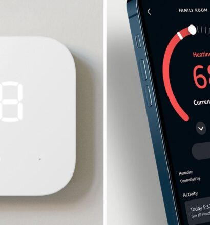 Amazon Smart Thermostat installed on wall in home