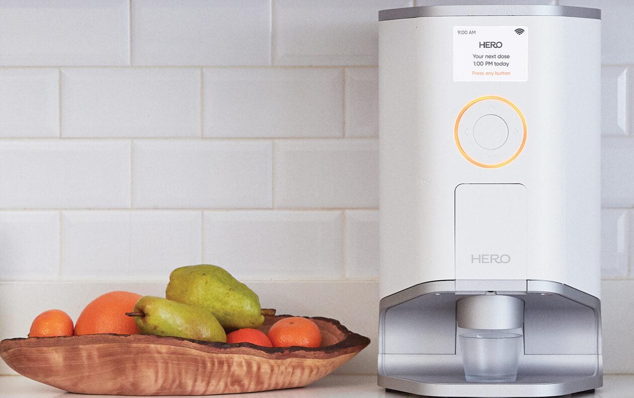 Hero pill dispenser on kitchen counter