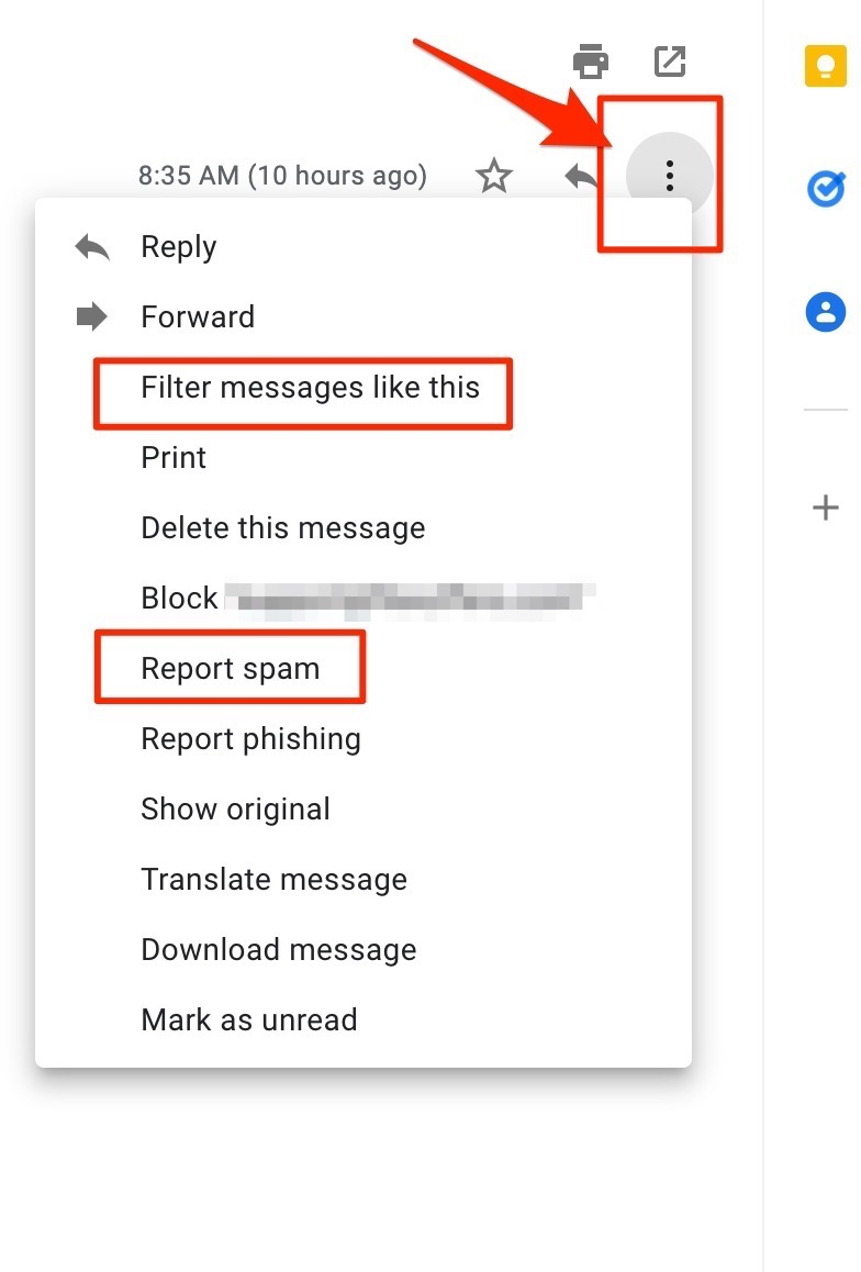 Gmail report spam options