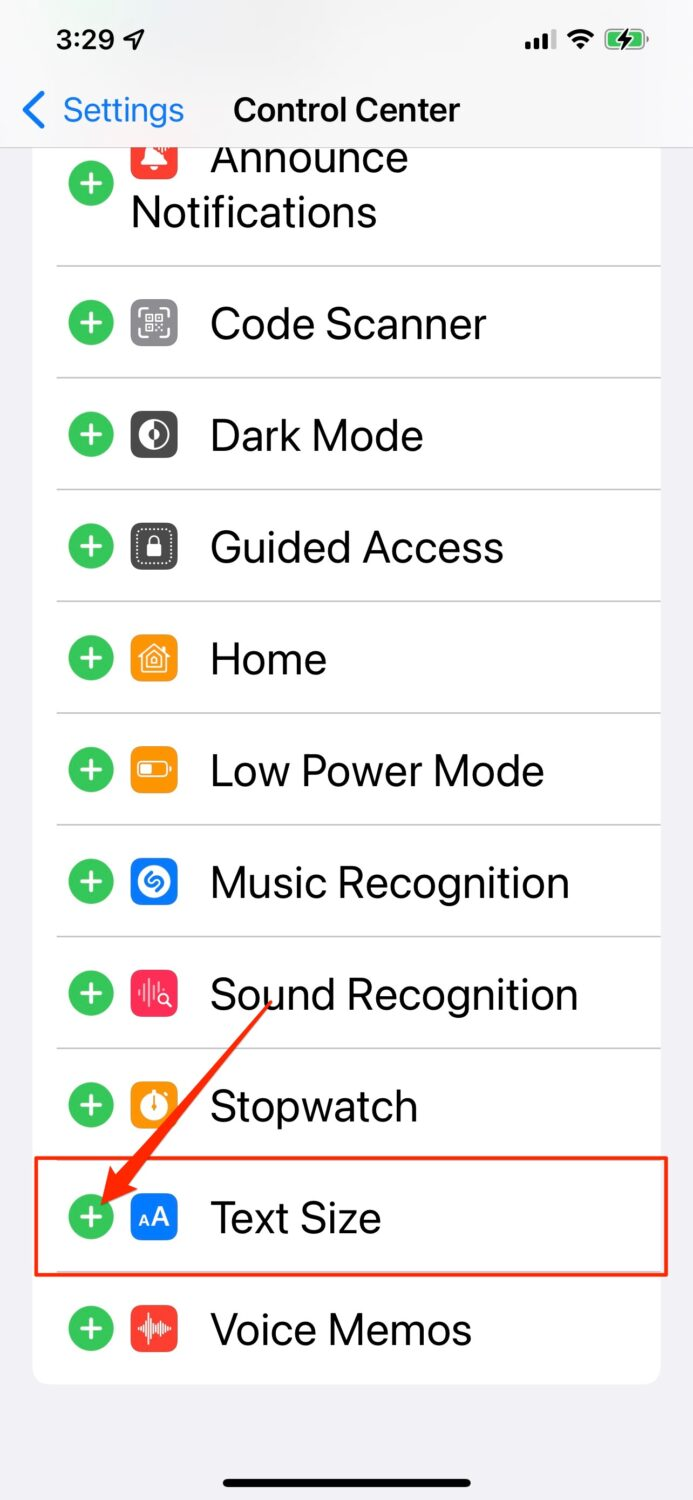 Control Center settings on iPhone