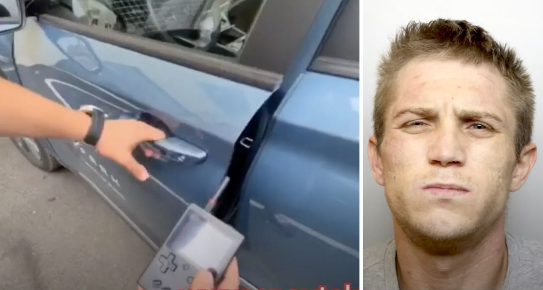 man steals car using gameboy