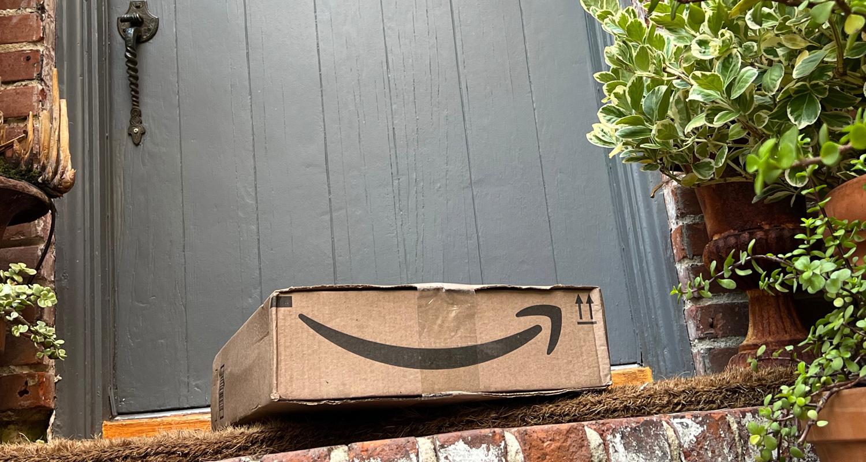 Amazon gift box on doorstep