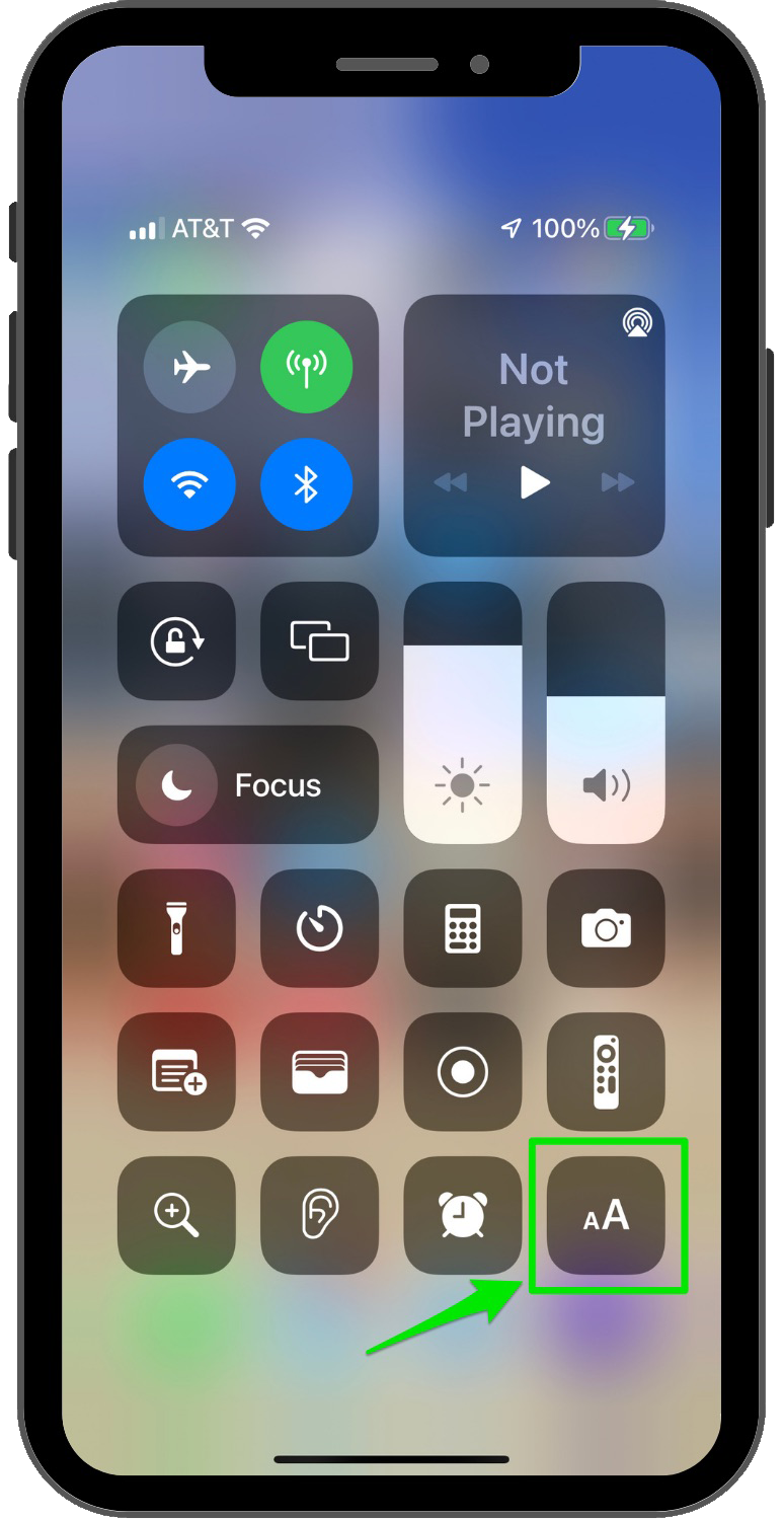 iPhone control center text size button