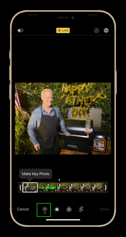 iphone live photo edit screen
