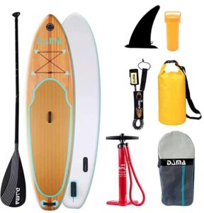 DAMA 9 Foot inflatable stand up paddle board with faux wood grain