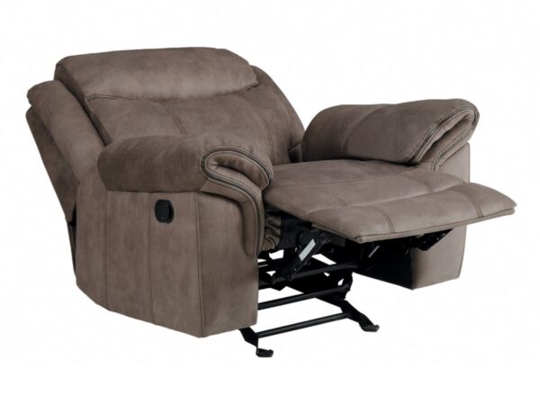 Aram Fabric Glider Recliner Chair (Fully Reclined)