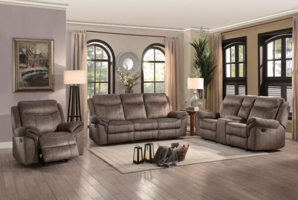 Aram Taupe Recliner Sofa Collection
