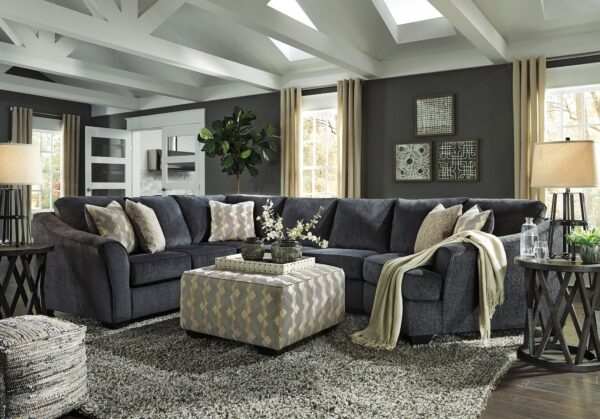 Eltmann 3 Piece Sectional With Ottoman and Sharzane Occasional Tables