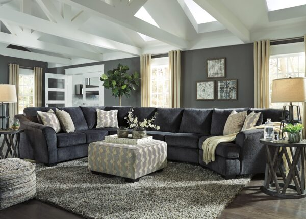 Eltmann 4 Piece Sectional With Ottoman and Sharzane Occasional Tables