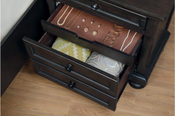 Begonia Nightstand Hidden Drawer Open