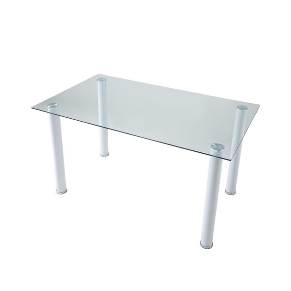 Florian White Glass Top Dining Table View