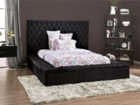 Bickel Black Upholstered Bed FOA 7897BK