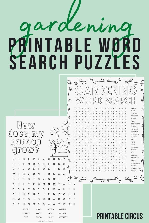 Grab these FREE printable gardening word search puzzles that you can download and print off to play and enjoy right away. Fun printable PDF word search puzzles.