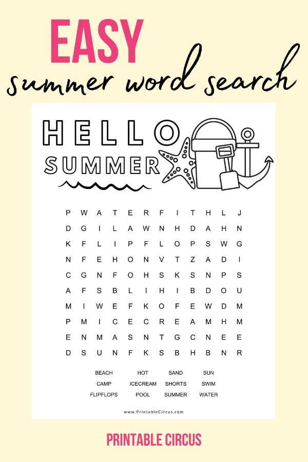 Grab this FREE printable EASY summer word search puzzle that you can download and print off to play and enjoy right away. Fun coloring page printable PDF word search puzzle for kids.