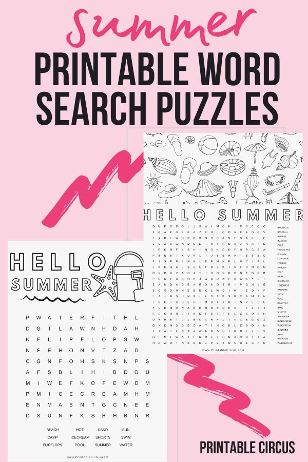 Download and print these FREE printable summer word search puzzles. They're in PDF form so you can play and enjoy right away. Fun printable summer word find games.