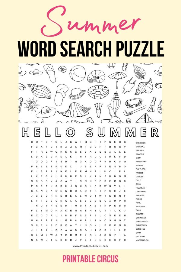 Grab this FREE printable summer word search puzzle that you can download and print off to play and enjoy right away. Fun printable PDF word search puzzle for summer.