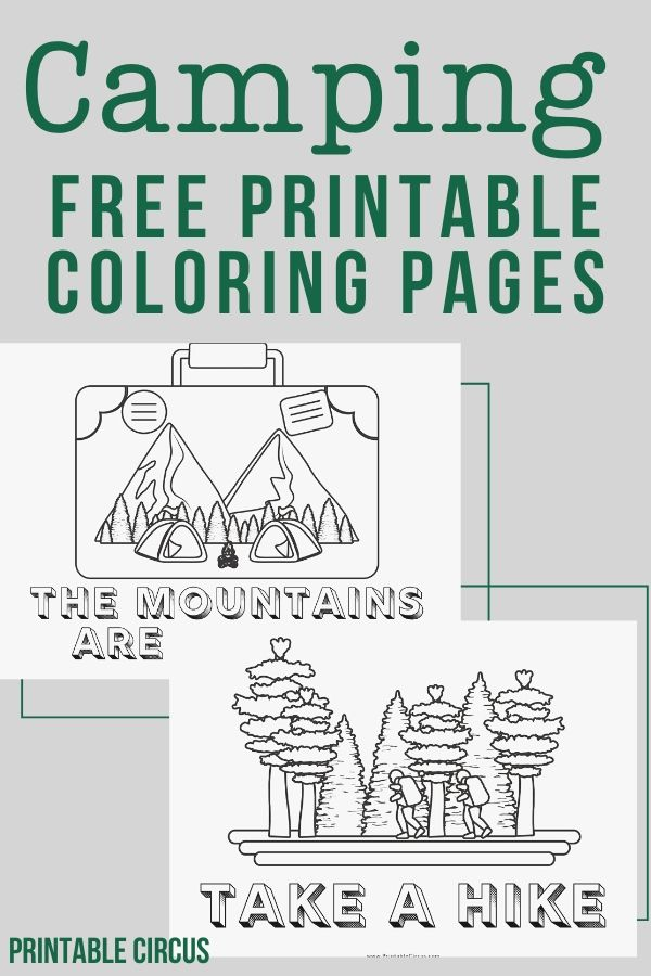 Free printable camping coloring pages - these summer adventure coloring sheets come in 5 different styles to download, print, and color. Great for kids or to share with friends.