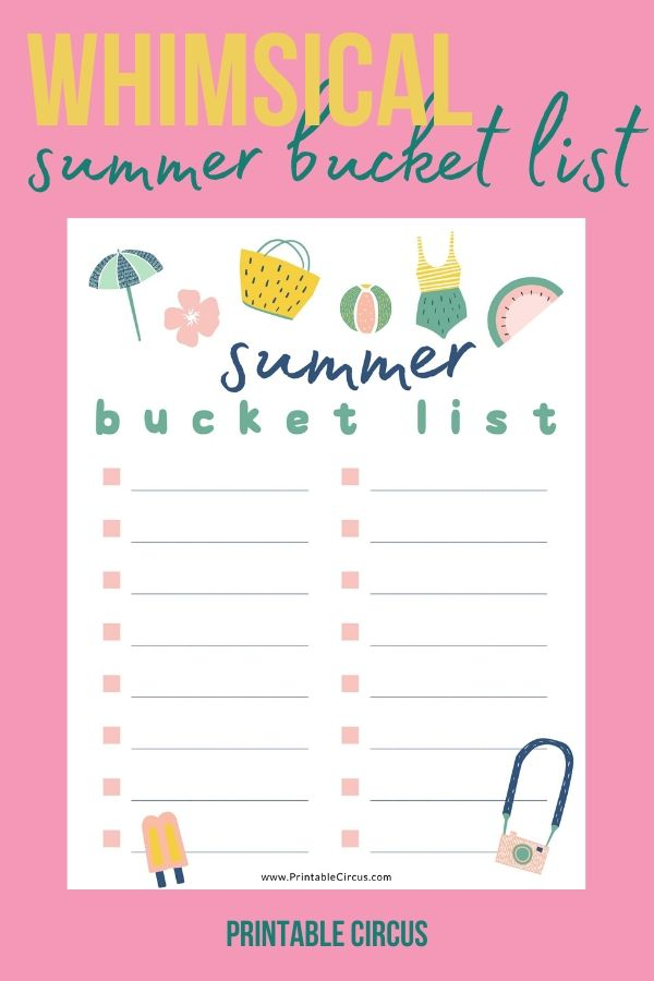 Colorful and Whimsical Summer Bucket List FREE Printable - from Printable Circus
