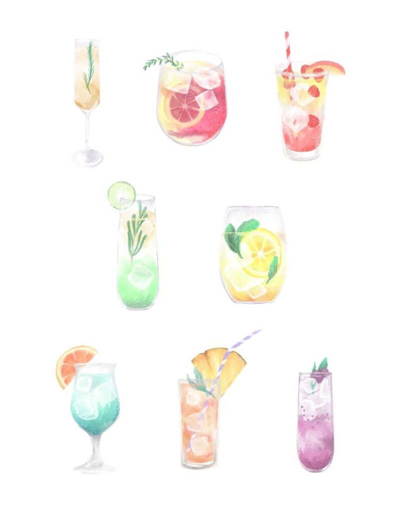 watercolor summer cocktails free printable poster. A fun, whimsical, and colorful poster with summer drinks. Add to your bar or summer patio seating area for a pop of color.