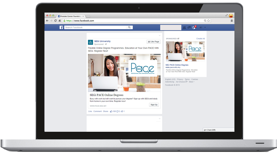 Showcasing Facebook Ads on a computer