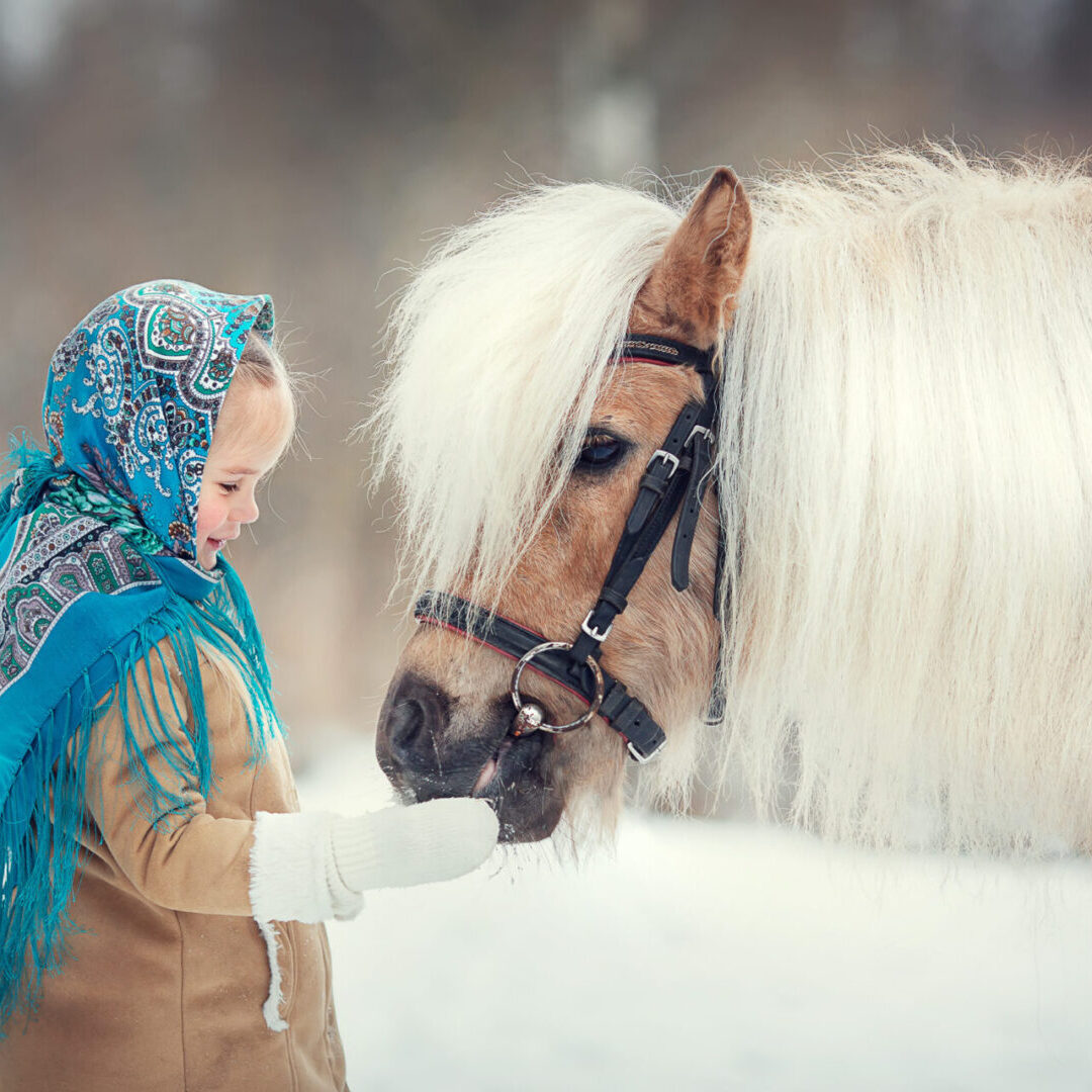 Russian,Style.,Beautiful,Little,Girl,In,Blue,Pavloposad,Shawl,Is