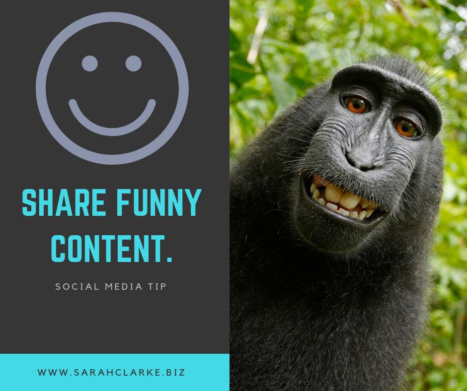 social media tip share funny content