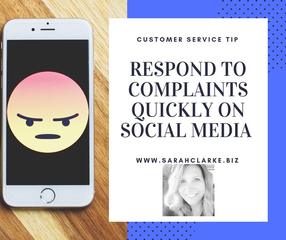respond to complaints quickly on social media