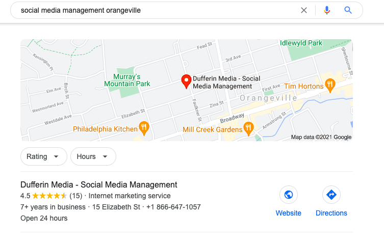 Google My Business Results from Maps