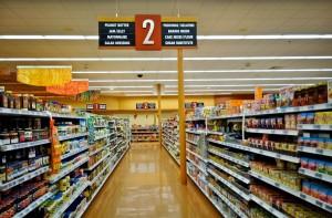 Supermarket shelves, showing processed foods