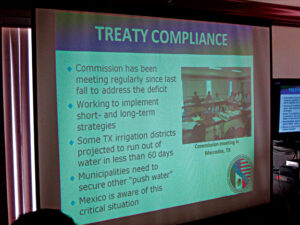 Treaty Compliance slide during Power Point presentation from El Paso.