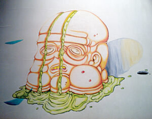 "Detail of ""Mind Elevation"", oil on wood panel."