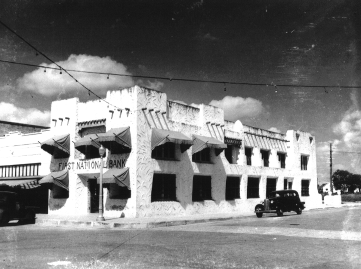 The First National Bank of La Feria's building in the 1930's. The building houses BBVA Compass today.