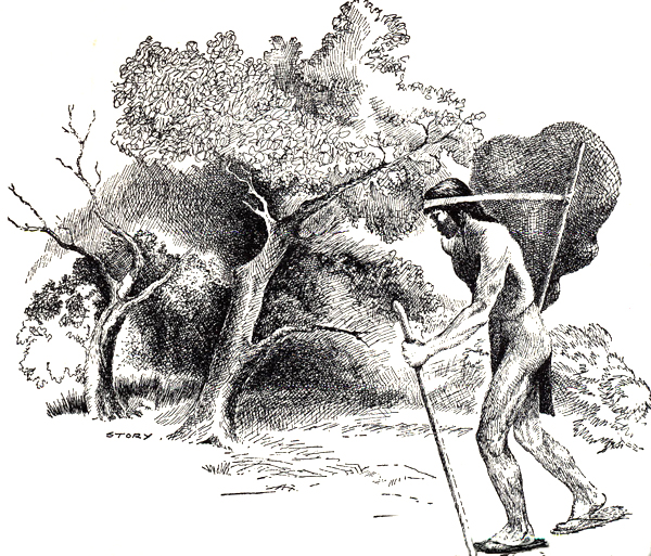 A South Texas native carries a heavy pack of supplies in a fiber net supported by a tump line across his forehead. Drawing by Hal Story.