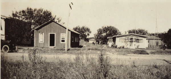 Undated photo (circa 1930's) showing the offices of LA FERIA LEADER and its printing facility next door to founder Preston Webb Smith's home on Magnolia.