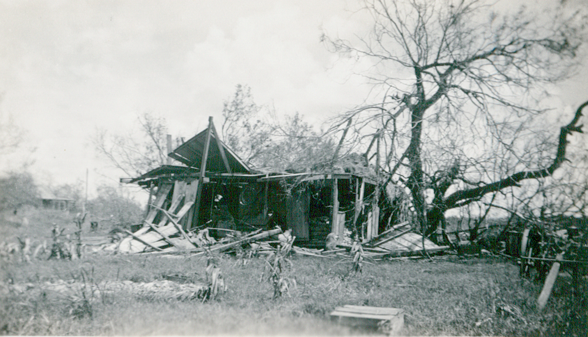 The remnants of La Feria resident Herman Diehl Wessel's barn after the Sept 1933 Hurricane. Photo: Courtesy Lisa Dunlevy Bordelon from the Lucile Wessels Dunlevy Collection.