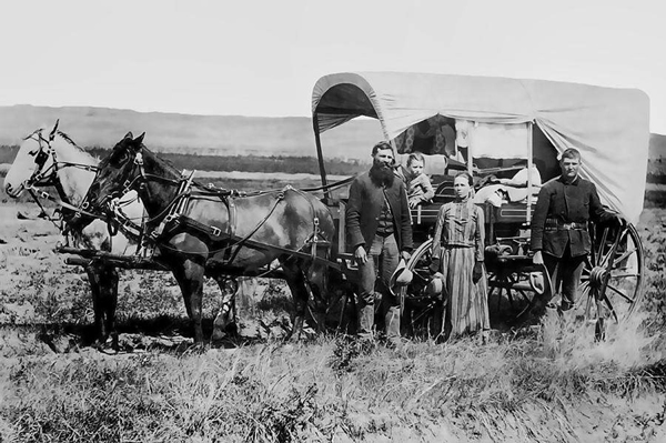 Sebastian Adrian Villarreal's mother Victoria Nettles came to Texas from Mobile, Alabama in 1858 in a covered wagon with all the family's belongings, their goats and horses and even a dog for protection. The picture above shows a family quite similar to the Nettle's on their way to new land and opportunity in Texas. Photo: thestoryoftexas.com