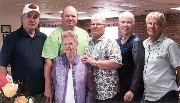 The Wenke family today - Karl Wenke, Butch (Joseph) Wenke, Clara Wenke Rawls, Vivian Wenke Greek, Geneva Wenke Wick celebrating the 101th birthday of Sally on the first row.