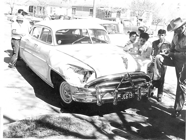 Photo of an automobile accident in 1952. The car is a Hudson and the officer pictured in the photograph is Pinky Dierks, mentioned in a previously published Centennial Story about Lawmen by contributor Michael Lamm. Photo submitted by Alvino Villarreal.