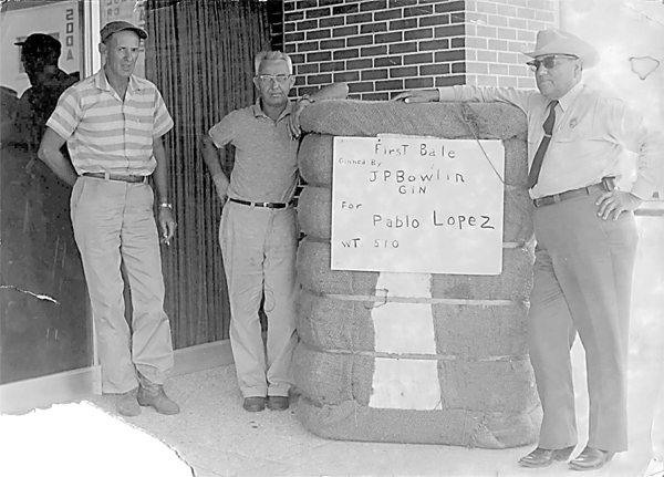 Undated (possibly 1950's) photograph of JP Bowlin Gin's first bale of cotton in La Feria for Pablo Lopez, grower and coincidentally town constable in the 50's, seen here with Joe Peets and Nick Ruth, field man. Photo submitted by Alvino Villarreal.