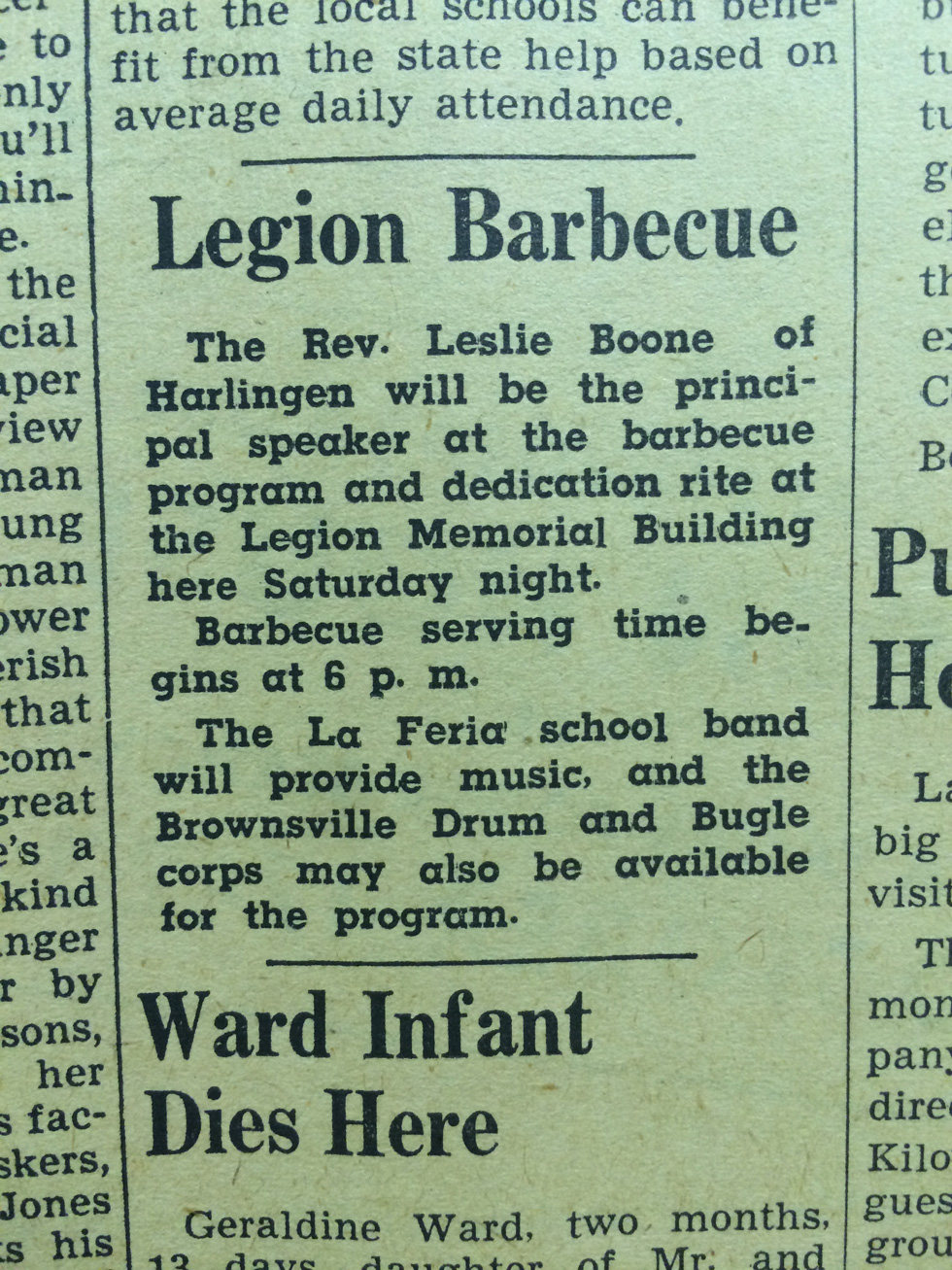 This small announcement was on the front page of the October 13, 1949 issue of LA FERIA NEWS advertising the dedication of the American Legion Post Memorial building on Saturday, October 15, 1949. Photo: LFN Archives.