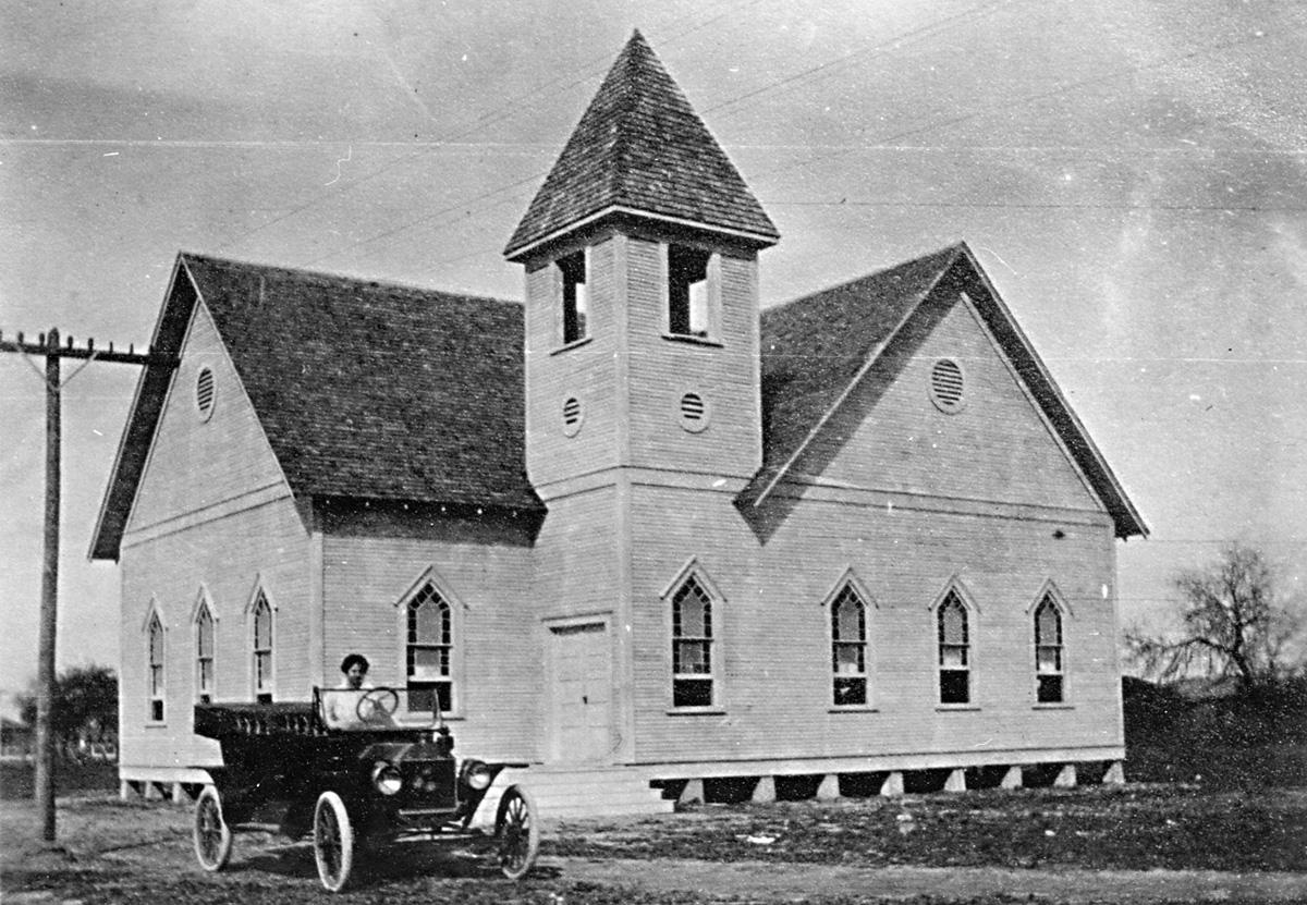 A photo of the original First Methodist Church in La Feria from 1909. Photo: First United Methodist Church La Feria/laferiafumc.com/about/history.