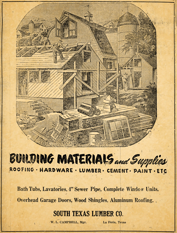 FROM THE ARCHIVES: This large advertisement for South Texas Lumber Co. ran in the March 27, 1947 issue of La Feria News.